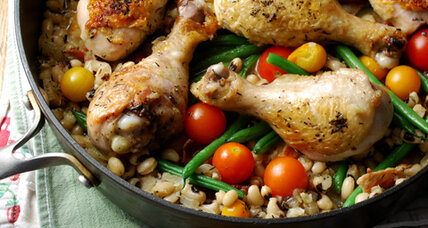 One-skillet chicken with black-eyed peas and cherry tomatoes