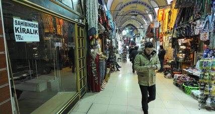 At Istanbul's Grand Bazaar, empty shops echo Turkey's deepening strains