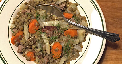 Lentils with fennel and sausage