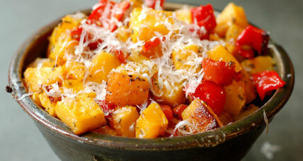 Roasted butternut squash with red pepper
