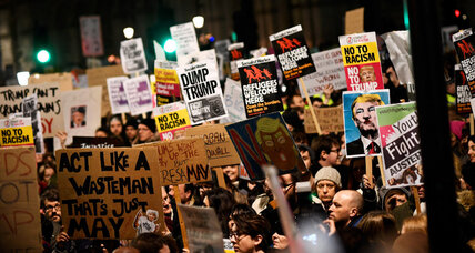 Tens of thousands in Britain protest against Trump's travel ban