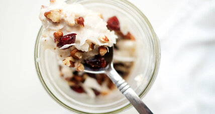 Breakfast in a jar: coconut cranberry overnight oats