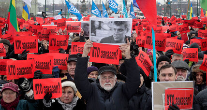 Russians march against Putin on anniversary of opposition leader's death