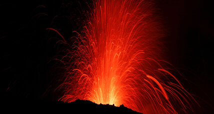 Fountains of lava spray from Italy's Mount Etna