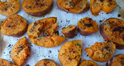 Garlic butter smashed sweet potatoes