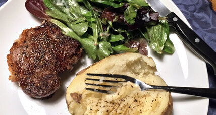 Pan-seared steak, quick side hacks, and the pleasures of dinner for one