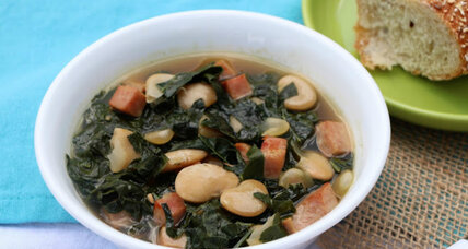 Soup in a snap: kale, butter bean, and ham