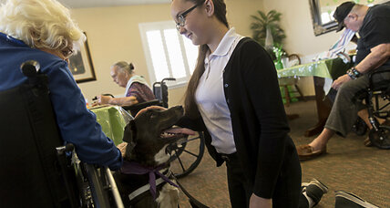 A teen and her dog make weekly visits to assisted living home, earning award