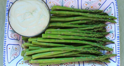 Signs of spring: asparagus with creamy brie dressing