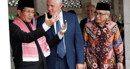 Pence tours Indonesian mosque, praises moderate Islam, and calls for 'fairer trade'