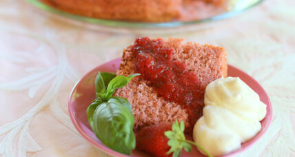 Strawberry basil chiffon cake with strawberry basil sauce