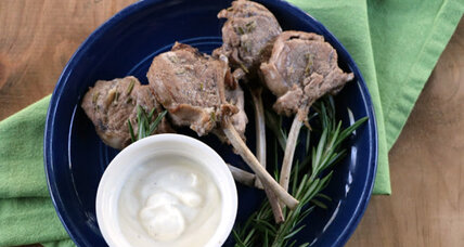 Lamb lollipops with lemon yogurt sauce