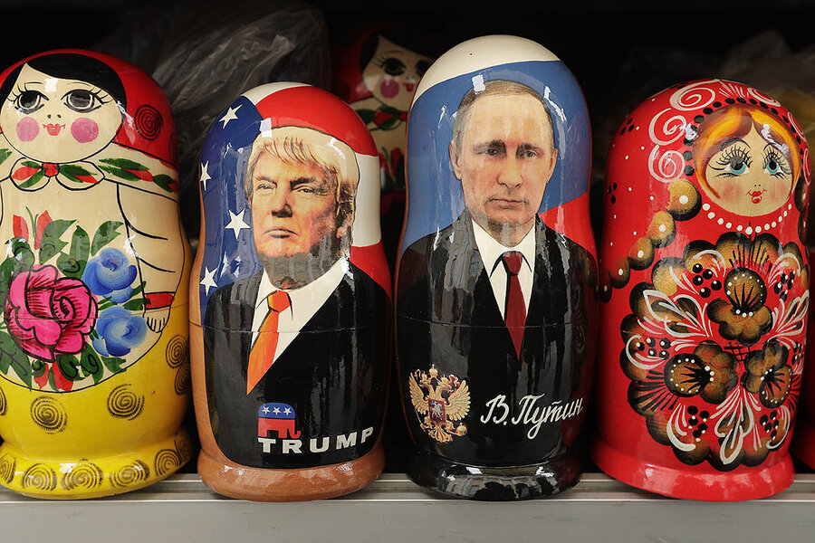 The Trump doll doesn't fit into the Putin doll, and vice versa; but that doesn't mean Trump's destructive anti-U.S./pro-Russia policies are good, nor that Russia didn't illegally interfere in U.S. elections, nor that illegally activities on both sides didn't tip the election, even if not formally coordinated. Christian Science Monitor image, From Dmitri Lovetsky/AP, dolls in a St. Petersburg, Russia, souvenir shop.