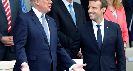 During Trump's Paris visit, Macron positions himself as intermediary between Europe and president