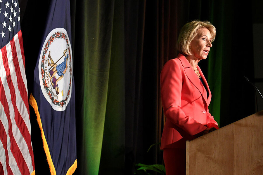Education Secretary Betsy DeVos makes remarks during a major policy address  on Title IX enforcement, which in college covers sexual harassment, ...