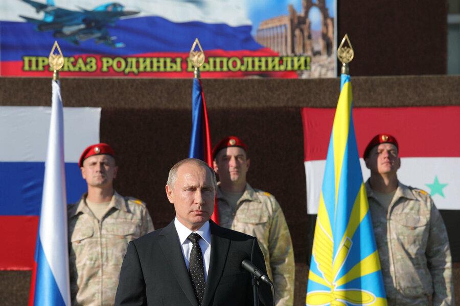 Putin declares victory against 'terrorists' in Syria