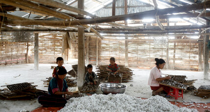 Myanmar's farmers shift from growing poppies to raising silkworms