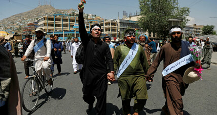 Afghans finish month-long march for peace