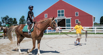 No whispering, just horses and city kids, learning on a farm