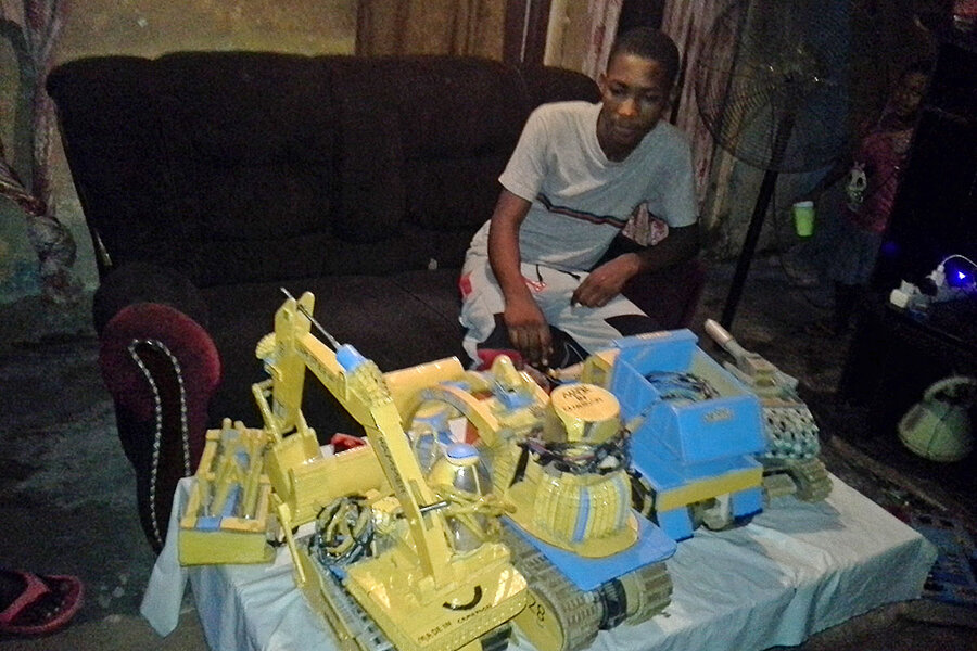 Conflict shut schools. A teen teaches himself, one toy car at a time.