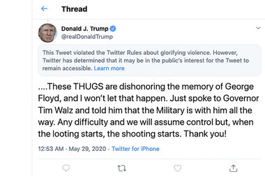 Image of article 'What's OK to tweet? Trump tweet tagged as glorifying violence.'