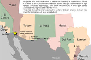 Where USMexico border fence is tall border crossings fall
