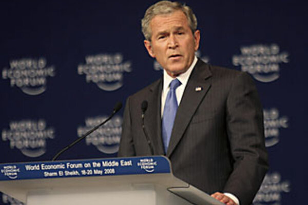 Bush contrasts Arab, Israeli paths