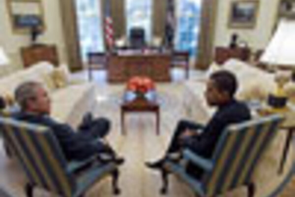 oval office picture. Seats Of Power: President Bush And President-elect Obama Met In The Oval Office White House On Nov. 10. Picture