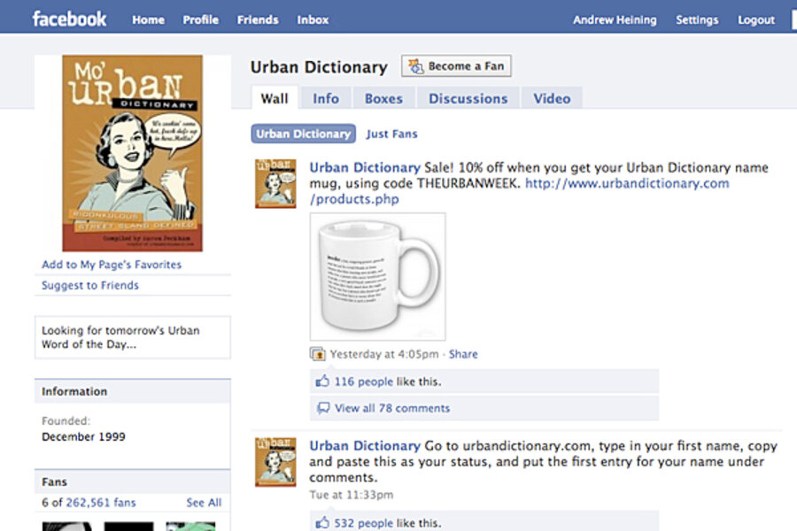 urban dictionary name definitions the latest facebook craze