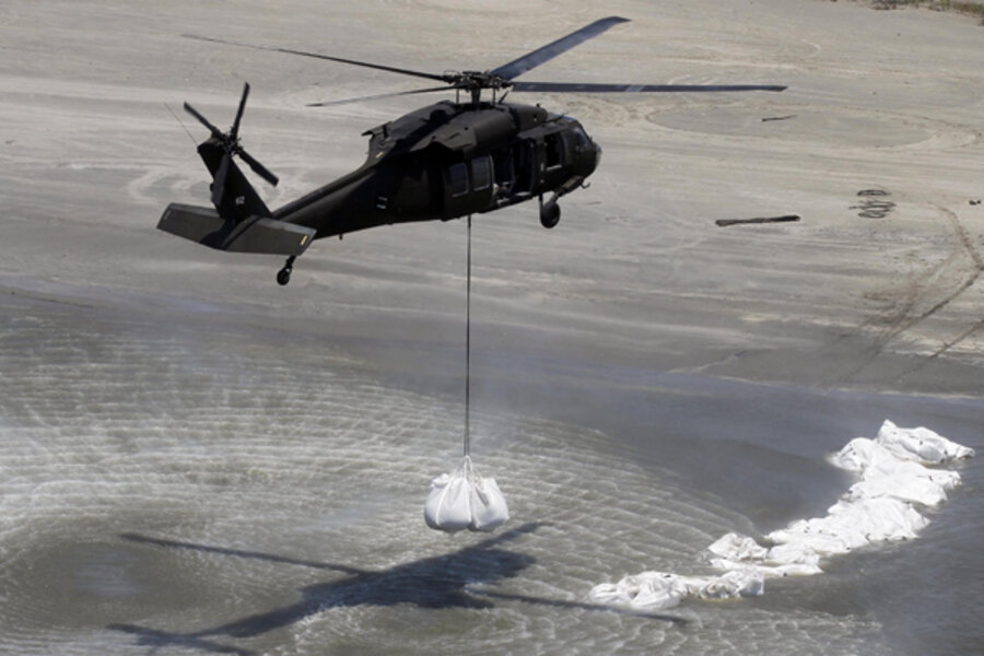 Oil Change Specials >> Military helicopters drop sandbags as oil spill cleanup efforts continue off Louisiana ...