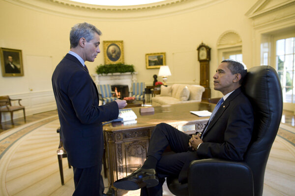 president barack obama holds an oval office meeting with white house chief of staff rahm emanuel on january 21 2009 their first full day in office barack obama oval office
