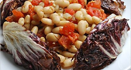 Roasted radicchio with white beans and tomatoes