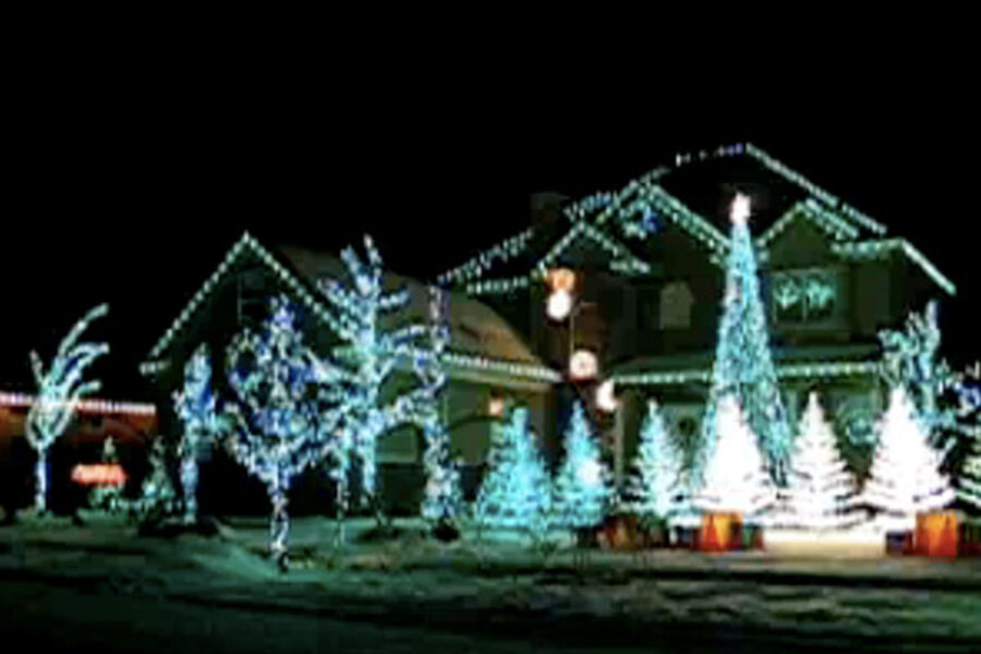 This screen grab of a YouTube video shows a US home with a light display  synchronized to the music of