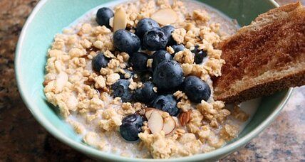 Hot cereal with blueberries and granola