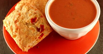 Pimento cheese biscuits and creamy tomato soup