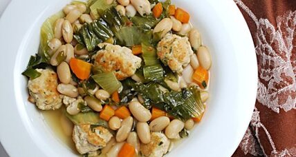 White bean escarole soup with turkey meatballs