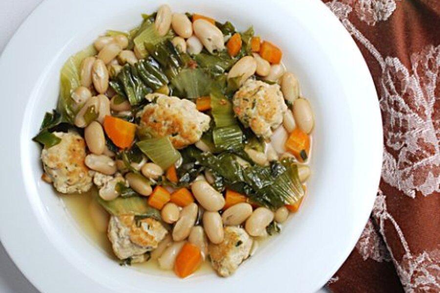 White bean escarole soup with turkey meatballs - CSMonitor.com