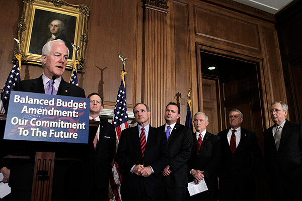 Congress gives first inklings of compromise in budget stalemate john cornyn r of texas far left joins the call of other assembled gop senators for an amendment to the constitution requiring a balanced federal budget platinumwayz