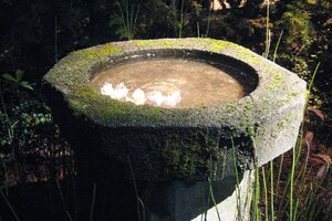 This Hexagonal Concrete Bowl Will Draw Birds And Butterflies To Your Yard.  Itu0027s A Good Example Of An Impressive Water Feature That Can Be Copied For  Not Too ...