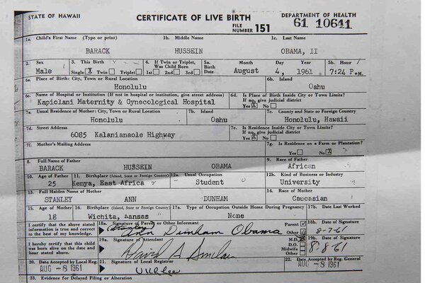 Presidents Long Form Birth Certificate - CEO News