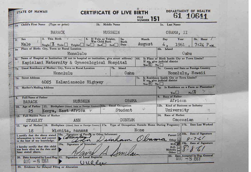 Obamas Long Form Birth Certificate Proof Too Late Csmonitor