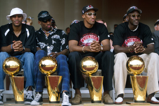 Left To Right Chicago Bulls Ron Harper Dennis Rodman Scottie Pippen And Michael Jordan With Four Of The Franchises Six NBA Trophies After