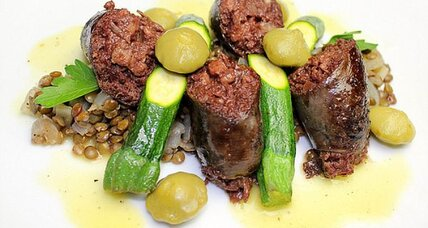 Blood sausage with lentils