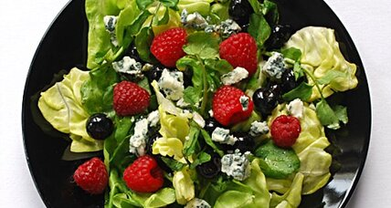 Simple berry blue cheese watercress salad
