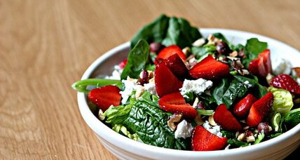 Strawberry hazelnut salad with sesame dressing
