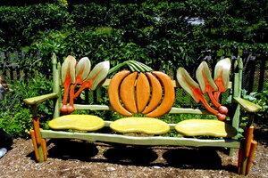 Does This Colorful Garden Bench In The Vegetable Garden Of Chanticleer  Garden In Pennsylvania Remind You Of U0027Alice In Wonderlandu0027?