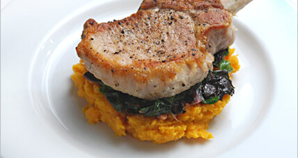 Inspired by Columbus: braised pork chops, mashed sweet potatoes, and Swiss chard