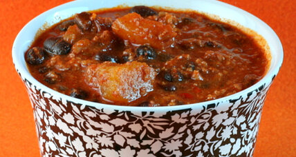 Spicy chorizo, pumpkin, and black bean chili