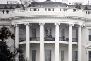 Law Enforcement Officers Photograph A Window At The White House In  Washington, On Nov. 16, As Seen From The South Lawn. A Bullet Hit An  Exterior Window Of ...