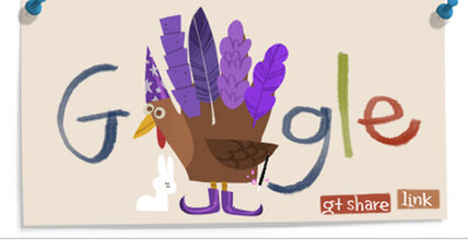 Thanksgiving Google doodle turkey lays 12 Easter eggs